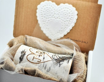 Sweetheart Candle / Wood Burned Initials / New Couple / Fiance Gift / Birch Candle / Wedding / Valentine's Day Gift for Him or Her