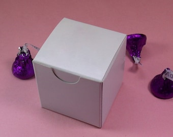 White Gloss Candy Treat Favor Box - 2x2x2""