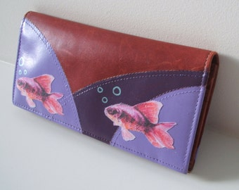 Red leather wallet, upcycled wallet, fish wallet, upcycled leather purse, red leather cardholder, recycled leather wallet, embellished