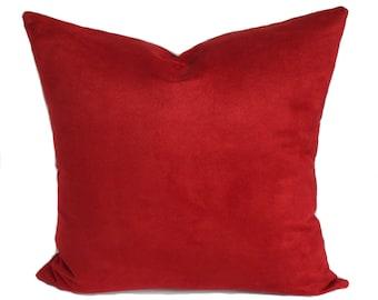 Decorative pillow cover, Red throw pillow, Sofa cushion, Couch pillow, Sham, Lumbar pillow, 12x20, 16x16, 18x18, 20x20, 22x22, 24x24, 26x26