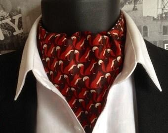 Cravat, Foxes Print Cravat, Brown and White Spot Cravat, Reversible Cravat