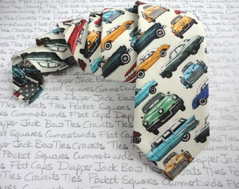 Classic Car Print Tie, cream back ground made from 100% cotton