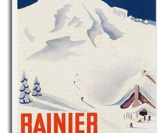 Mount Rainier Art Vintage National Park Poster Print Canvas Hanging Wall Decor xr883