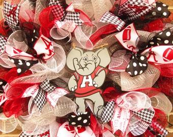 Alabama Wreath, Roll Tide Wreath, University of Alabama Wreath, BAMA wreath, Football Wreath,College Wreath, Football Mesh Wreath