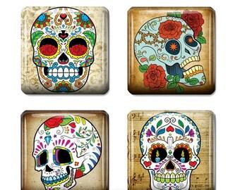 "80% OFF SALE Sugar Skull Dia de los Muertos Square Tiles Sugar Skull Jewelry Art Skull Digital Necklace Supplies Scrabble Tile size 1"" Squar"