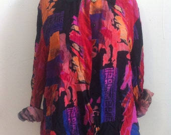 colorful blouse size L womens