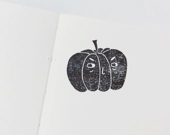 Funny Pumpkin Stamp.Halloween stamp. rubber stamp. hand carved stamp. mounted.