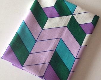 Vintage fabric // geometric chevron //UK seller