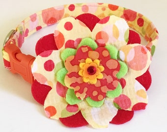 Red, Yellow & Orange Summer Flower Collar with Polka Dots