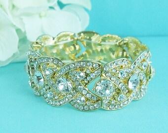 Gold Bridal bracelet, braided rhinestone wedding bracelet, crystal bracelet, bridal jewelry, wedding accessories, gold bridesmaid bracelet