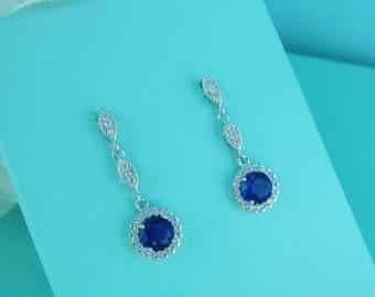 Bridal earrings, blue cubic zirconia earrings, wedding jewelry, bridal jewelry, wedding earrings, bridal earrings, sapphire 228528693