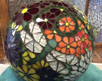 Mosaic Stained Glass Floral Explosion II Garden Orb