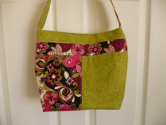 Pink Paisley & Green Bucket-Style Purse Diaper Bag
