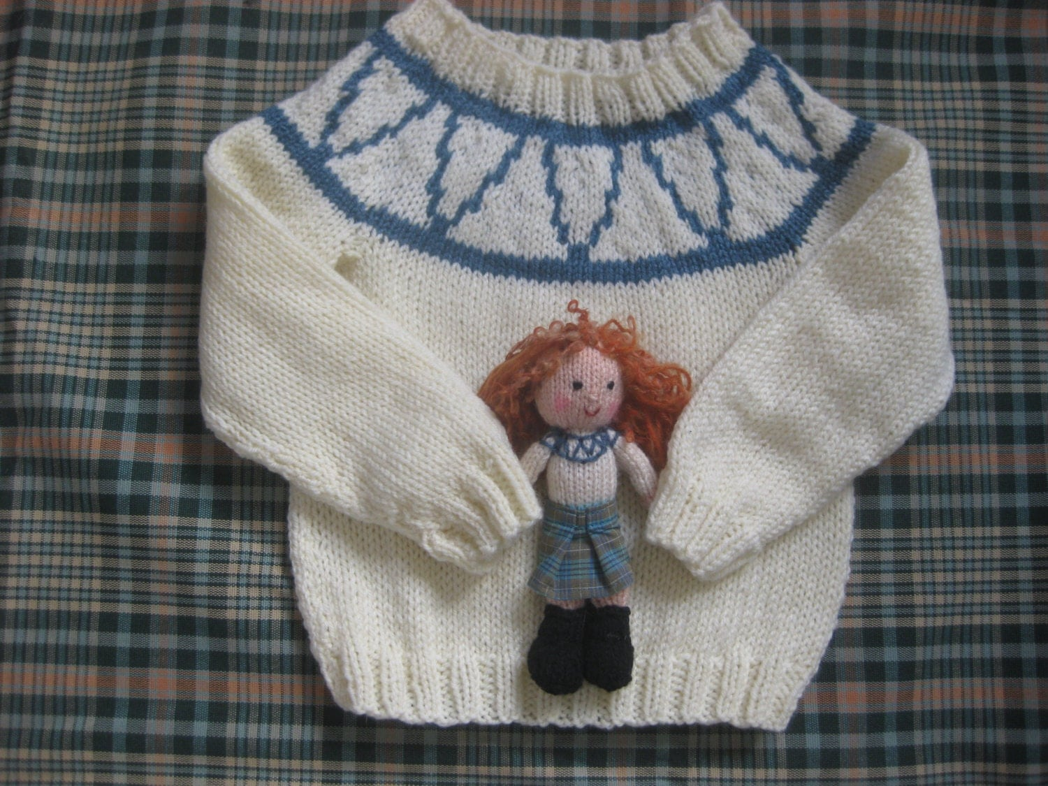 Knitting Pattern For Katie Morag Jumper : Katie Morag inspired jumper Doll and skirt can be addedAge