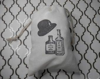 WEDDING FAVOR GIFT Bags, Cotton Muslin Favor Bags, Hand Stamped Gift Bags, Groomsmen, Bachelors, Bridegroom, Liquor Favors, Bottle Bags