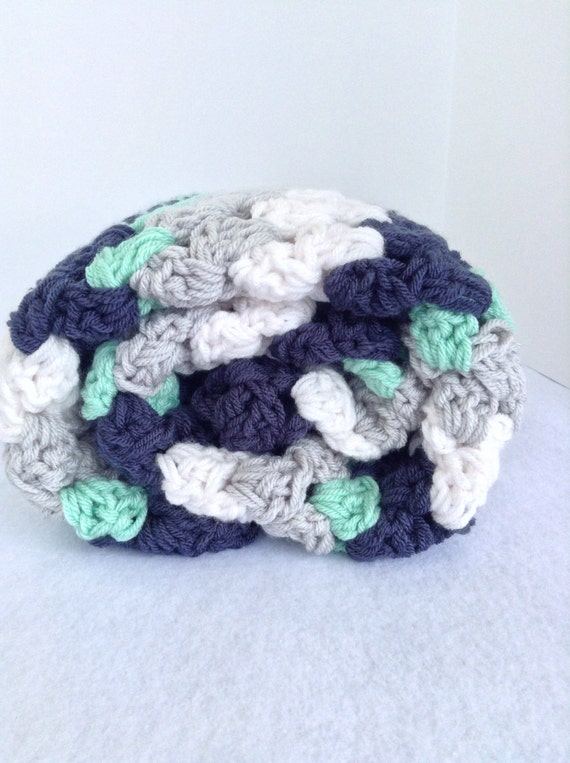 Nautical crochet baby or throw blanket navy white by ...