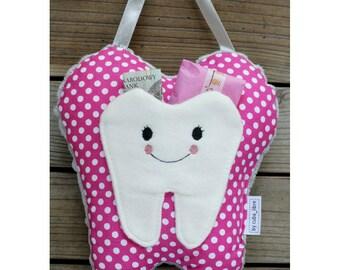 MTO Tooth fairy pillow - Dots/Fuchsia