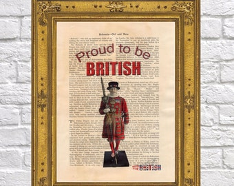 Tower Of London Beefeater On Vintage Book Page Proud To Be British 13 Art