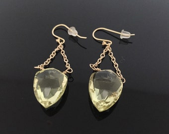 Faceted Lemon Quartz Dangly Earrings // Wire Wrapped 18k Gold Fill //