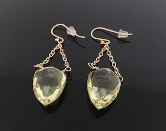 Faceted Lemon Quartz Dangly Earrings // Wire Wrapped 18k Gold Fill //
