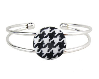 Silver Cuff Bracelet Black Houndstooth Adjustable