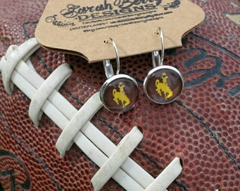 Wyoming Cowboys Ladies Earrings - officially licensed University of Wyoming Product - Wyoming Bucking Horse and Rider Jewelry