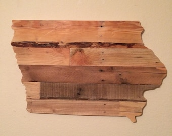 Reclaimed Wood Iowa State Sign