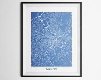 Roanoke, Virginia Abstract Street Map Print