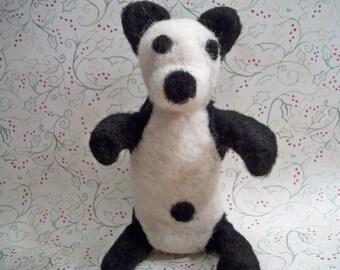 Felted Panda Bear, Handmade Wool Bear, Plush Bear, FeltWithAHeart