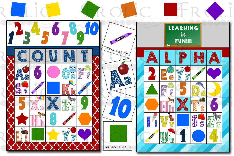 Alphabet Numbers Colors And Shapes Bingo 20 Printable Cards