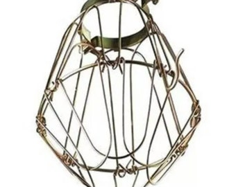 Wire Bulb Cage, Clamp On Lamp Guard, Vintage Trouble Lights Industrial Steampunk Pendants