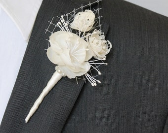 Wedding Boutonniere Grooms Boutonniere Groomsman Boutonniere Mens Wedding Boutonniere Silk Boutonniere Wedding Accessories Ivory Boutonniere