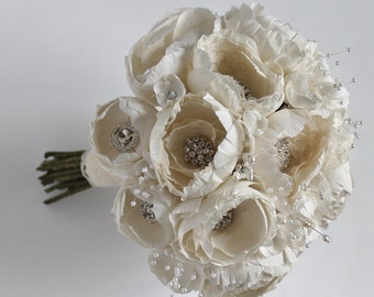 Ivory Wedding  Bouquet  Brooch Wedding Bouquet Fabric Bouquet Ivory Bridal Bouquet Bridesmaids Bouquet, Silk Wedding Bouquet READY TO  SHIP