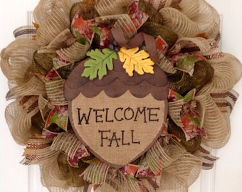 Welcome Fall Acorn Handmade Deco Mesh Autumn Wreath