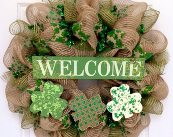 Three Shamrocks St Patricks Day Burlap Welcome Wreath Handmade Deco Mesh