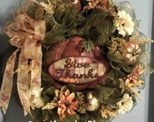 Fall Wreath Autumn Wreath Moss Green Deco Mesh Brown Orange Beige Copper Silk Flowers Wired Ribbon Bow Gold Fruit Glitter Picks Thanksgiving