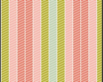 ON SALE  Bespoken by Art Gallery Fabrics. 100% Premium cotton - Stripes, fabric by the yard, quilting fabric - coral, pink lime