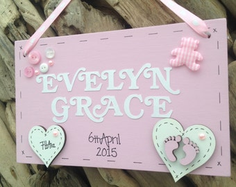 Handmade Personalised Newborn Baby Girl Plaque Sign Perfect Gift
