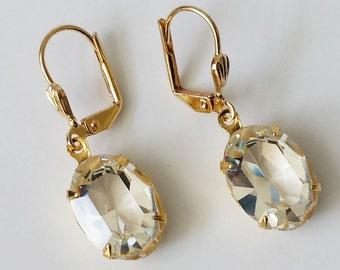 Swarovski Crystal Earrings Bridal Crystal Earrings Everyday Casual Earrings Clear Crystal Rhinestone Earrings Rhinestone Earrings
