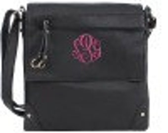 Monogrammed Black Crossbody/Messenger Bag