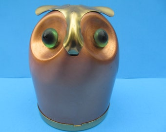 Vintage Copper craft Guild  Brass and Copper Owl Bank