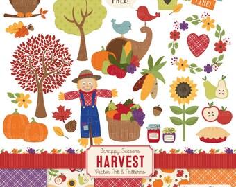 Harvest Fall Clip Art & Fall Patterns - Fall Clipart, Harvest Clipart, Autumn Vectors, Harvest Vectors, Fall Vectors