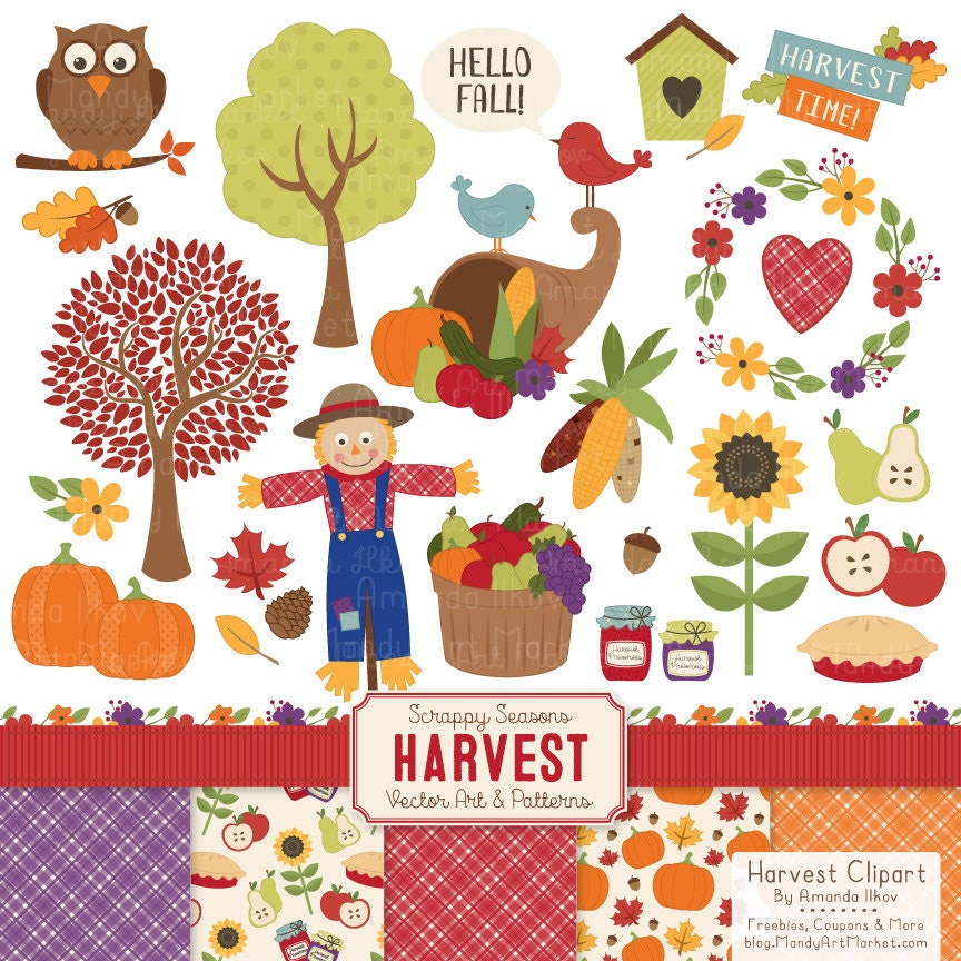 Harvest Fall Clip Art & Fall Patterns Fall Clipart by AmandaIlkov