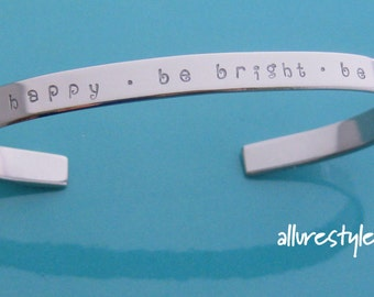 Handstamped cuff bracelet - narrow (stainless steel) - personalise with your choice of names or message