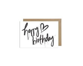 Happy Birthday Card Love Cards Brushlettering Kraft Envelope