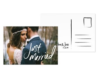 Photo Wedding Thank You Card Template Cool Digital Download JUST MARRIED