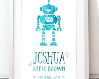 Personalised Baby Print, Birth Date Subway Art, Watercolour Print, Robot Print, Newborn Gift (A4 unframed)