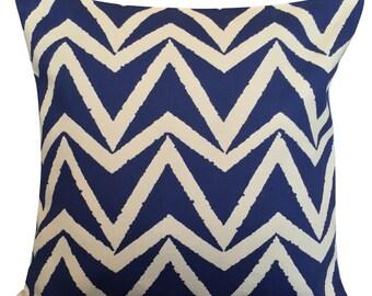 Scion Dhurrie Indigo Blue Chevron Cushion Cover