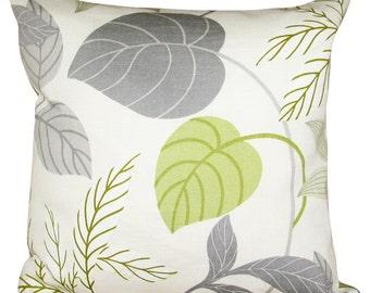 Sanderson Folia Lime & Charcoal Cushion Cover