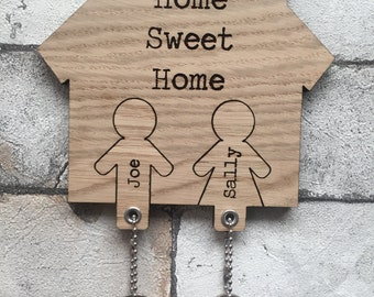 Home Sweet Home His and Hers Key holder and Key rings